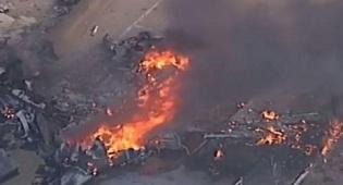 תיעוד מהשטח - 'כדור אש ענק': מטוס התרסק על מרכז קניות