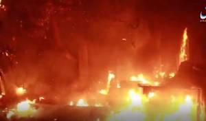 """שריפה בעקבות הפצצת זרחן - דאעש: ארה""""ב עושה שימוש בזרחן לבן • צפו"""