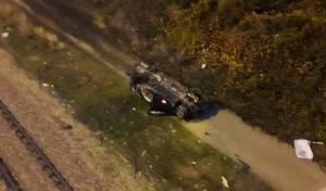 הרכב נפל מגובה רב שני החרדים נפצעו קל