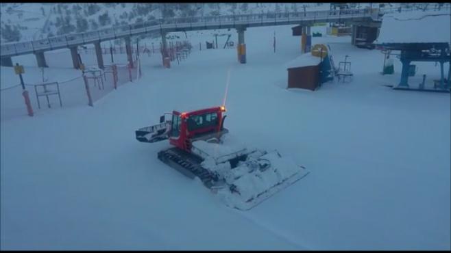 באתר החרמון מכינים את מסלולי הסקי. צפו