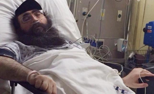 תמונת הרב פינטו בבית החולים בשבוע שעבר
