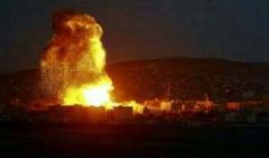 תיעוד מאחת התקיפות בסוריה, לאחרונה