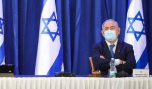 ראש הממשלה בנימין נתניהו, עם מסכת פנים