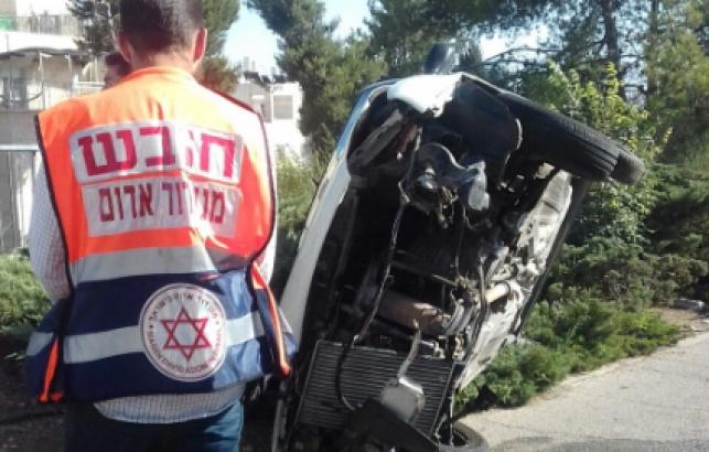 נס בירושלים: הרכב התהפך הבחורים ניצלו