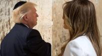 מלניה ודונלד טראמפ בכותל - טראמפ התפלל בכותל, אשתו ובתו - בעזרה