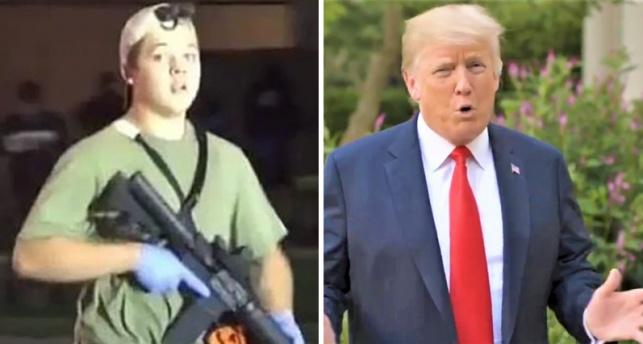 טראמפ וקייל רוטנהאוס כשהוא חמוש
