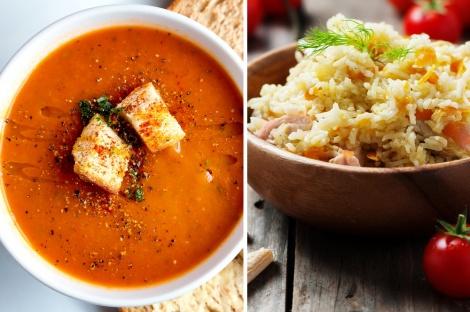 סלט אורז וטונה עשיר ומרק עגבניות קליל