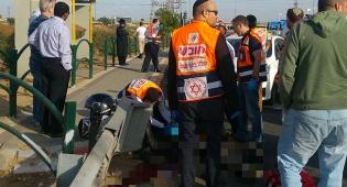 זירת התאונה, הבוקר - צומת נחלים: רוכב אופנוע נהרג  מפגיעת רכב