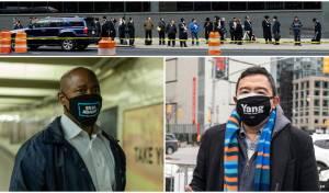 למעלה: חרדים בניו יורק; למטה: אנדרו יאנג, אריק אדמס