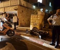 זירת התאונה - צעיר חרדי נפצע קשה בתאונה עם האופנוע