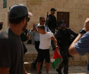 ילד הניף דגל פלסטין; שוטרים זינקו עליו • צפו