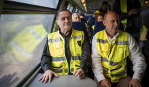 שר התחבורה ישראל כץ השקת קו הרכבת המהיר בין תל אביב לירושלים