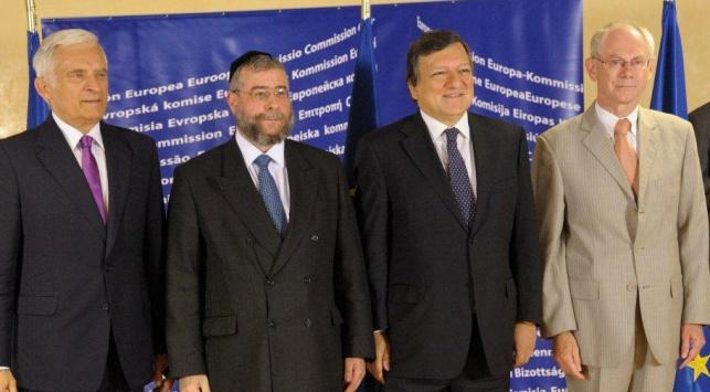 הרב גולדשמידט עם ראשי האיחוד האירופי במפגש האחרון בבריסל