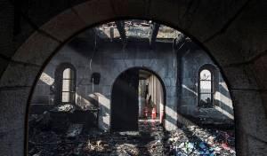 כנסיית הלחם והדגים לאחר ההצתה