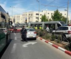 זירת התאונה - ירושלים: הרכבת הקלה ירדה מהפסים