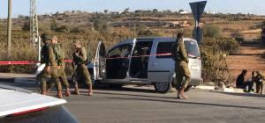 זירת הפיגוע - פיגוע דריסה בצומת גוש עציון: שני פצועים