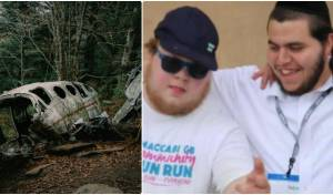 מימין: הרשי יחד עם הצעיר שבו טיפל; משמאל: התרסקות מטוס, ארכיון
