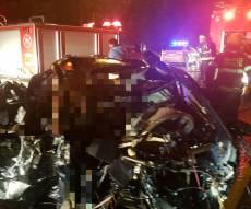 זירת התאונה - תאונה קטלנית בהתנגשות חזיתית ליד קציר
