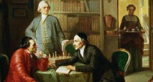 מוריץ דניאל אופנהיים מצייר את מנדלסון