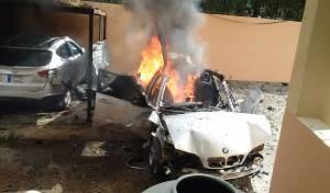 זירת הפיצוץ - אח בכיר החמאס פתח דלת - ורכבו התפוצץ