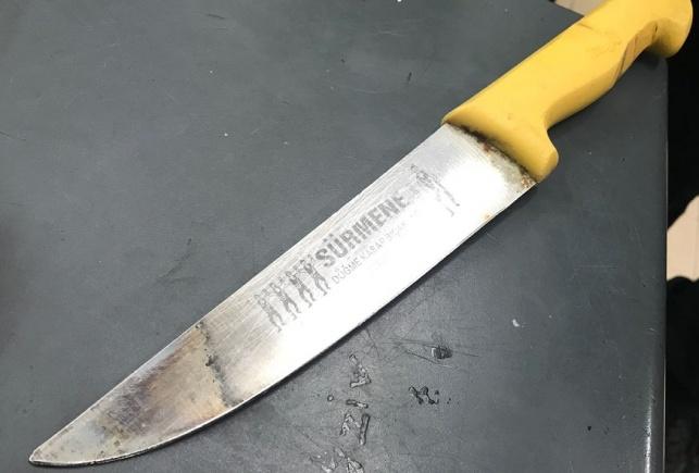 הסכין שנתפסה על גוף הערבי - הותר לפרסום: סוכל פיגוע בי-ם ביום ירושלים