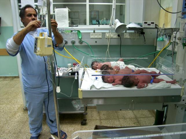 תינוקות בבית חולים בעזה. אילוסטרציה
