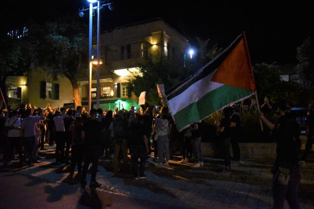 צעירים ערבים מניפים את דגל הרשות הפלסטינית