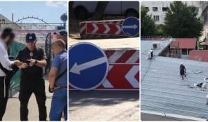 מימין לשמאל: סגירת הגג; מחסומים לויסות קהל; משטרת אומן בביקורת
