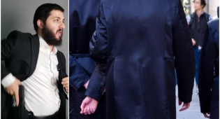 """מימין: חסידים עטויי קפוטות בחו""""ל; משמאל: כהן בהדגמה"""