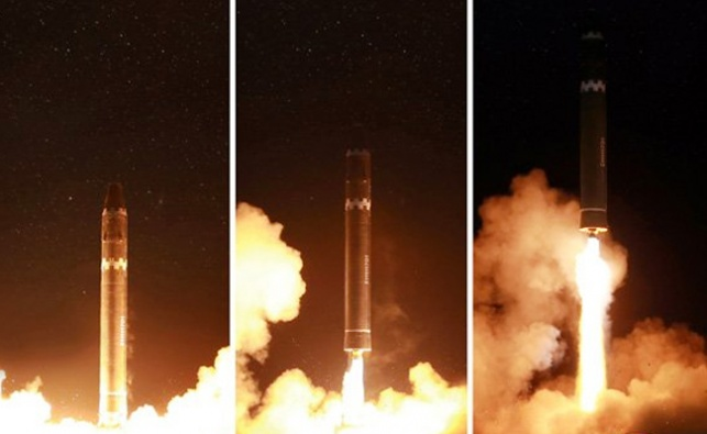שיגור הטיל והחגיגה של קים ג'ונג און