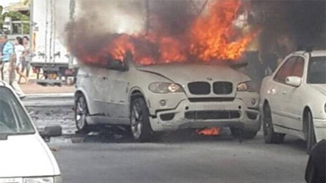 הרכב מיד לאחר הפיצוץ