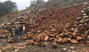חומת האבן שהתמוטטה בתל דן - שמורת תל דן: קרסה חומה מימי בית ראשון
