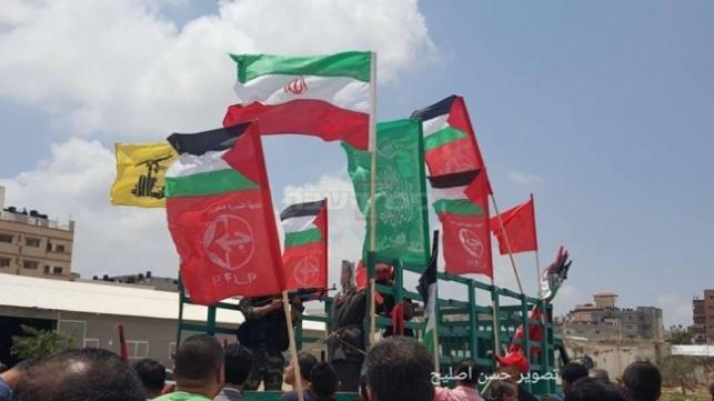 דגלי חמאס בתהלוכה בעזה