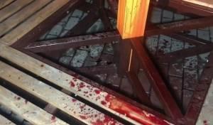אלמונים שפכו דם של חיות על חנוכייה בקייב