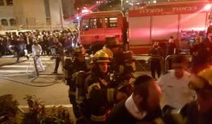 זירת האירוע - פצוע קשה בשריפה בשכונת בית ישראל