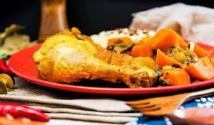 עוף מבושל עם ירקות וקוסקוס כרובית - עוף מבושל עם ירקות וקוסקוס כרובית נהדר