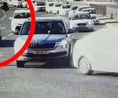 המצלמה תיעדה: 'כמעט תאונה' עם משאית