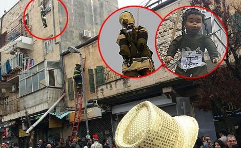 """הבובות והפעילות להסרתן - מיצג """"חיילים חרדים תלויים"""": המשטרה הסירה את הבובות"""