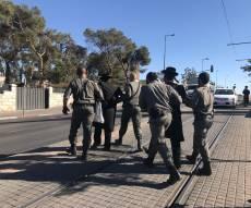 חלק מהעצורים - ההפגנות בירושלים: נחסמה תנועת הרכבת