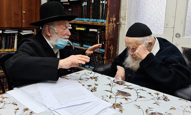 """הגאון רבי יצחק זילברשטיין עם מרן הגר""""ח קנייבסקי"""
