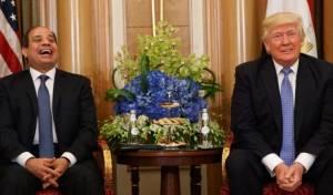 """נשיא מצרים א-סיסי עם נשיא ארה""""ב טראמפ. עמדה אחידה - העמדה המצרית: רמאללה בירת הפלסטינים"""