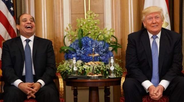 """נשיא מצרים א-סיסי עם נשיא ארה""""ב טראמפ. עמדה אחידה"""
