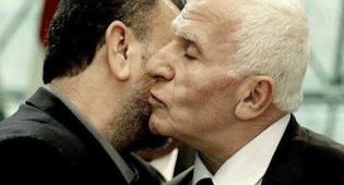 """נציג הפת""""ח מתנשק עם הטרוריסט הבכיר עארורי שחתם על ההסכם מטעם חמאס - """"חמאס התחייב לא להוציא פיגועים מהגדה"""""""