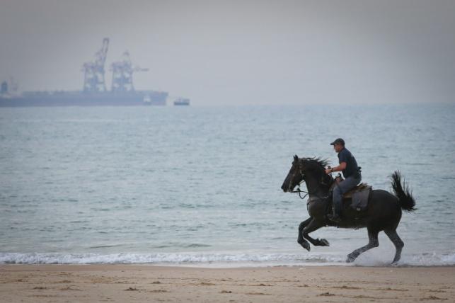 שוטר דוהר על חוף אשקלון