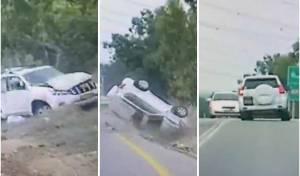 צפו: הנהג ניסה להימנע מתאונה - והתהפך