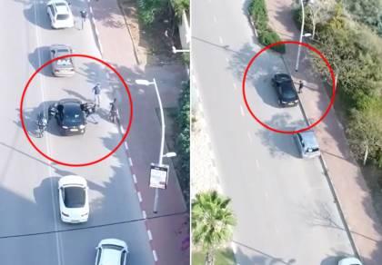 תיעוד מהרחפן: בלשי משטרה עוצרים חשוד