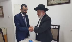 """הגאון רבי ציון בוארון עם יו""""ר ש""""ס בתל אביב"""