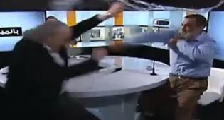 האלימות הקשה בשידור חי - משך לו בזקן: תגרה קשה באולפן לבנוני. צפו