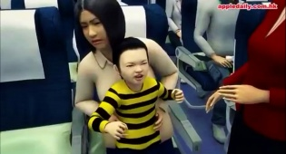 אנימציה לסצינה שארעה במטוס  'קתאי פסיפיק' מבנגקוק להונג קונג - משפחה הורדה מטיסה בגלל בן סרבן