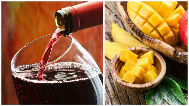 קינוח פירות טריים ויבשים עם יין אדום